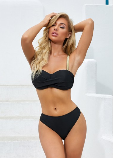 Bright Silk Spaghetti Strap Black Bikini Set - 2XL