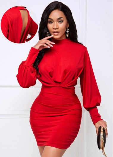 Cutout Bacck Lantern Sleeve Ruched Bodycon Dress - L
