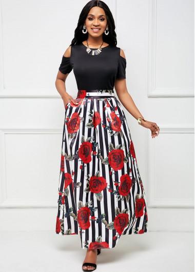 Cold Shoulder Top and Striped Floral Print Pocket Skirt - 2XL