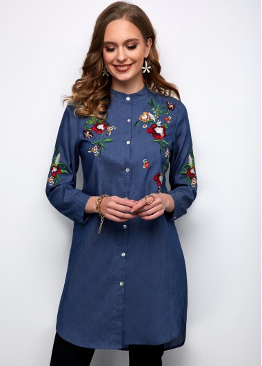 Embroidered Denim Button Up Long Sleeve Blouse - 2XL