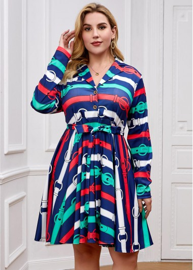 Plus Size Belted Striped Notch Collar Dress - 2XL