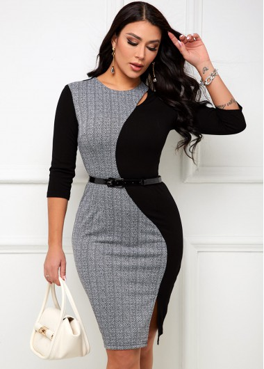 Contrast Round Neck Belted Bodycon Dress - 2XL