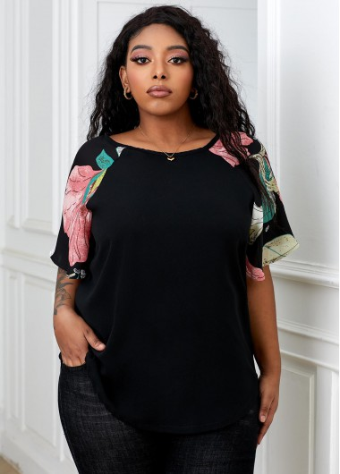 Plus Size Printed Round Neck T Shirt - 2XL