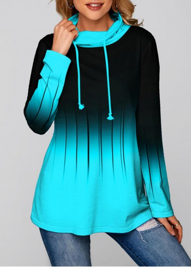 Long Sleeve Ombre Cowl Neck Tunic Top - L