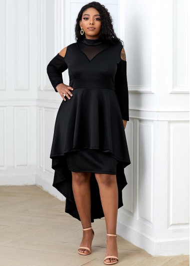 Plus Size Cold Shoulder High Low Dress - 2XL