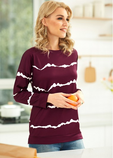 Striped Round Neck Long Sleeve T Shirt - 2XL