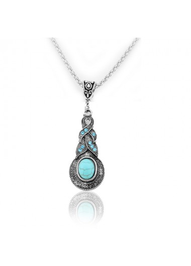 Blue Crystal Inlaid Turquoise Pendant Vintage Necklace - One Size