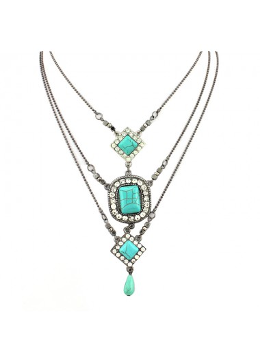 Tribal Square Turquoise Pendant Water Drop Layered Necklace - One Size