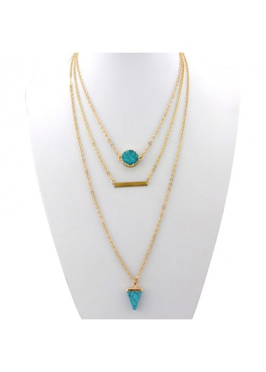 Layered Turquoise Pendant Gold Chain Necklace - One Size