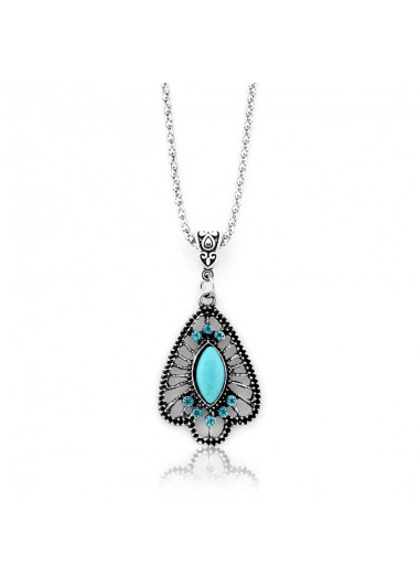 Hollow Metal Chain Turquoise Pendant Necklace - One Size