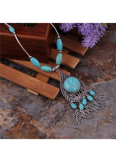 Turquoise Detail Leaf Design Metal Boho Necklace - One Size
