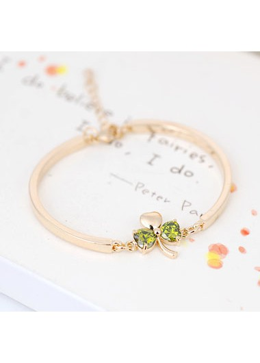 Shamrock Gold Metal Imitation Crystal Bangle - One Size