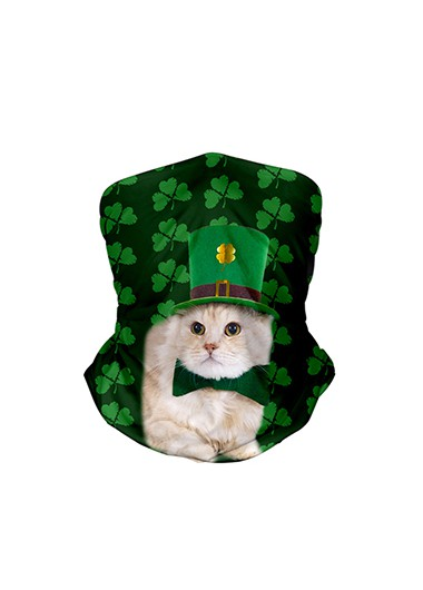 9.4 X 17.7 Inch Shamrock and Cat Print Bandana - One Size