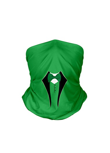 9.4 X 17.7 Inch Green Bowknot Detail Bandana - One Size