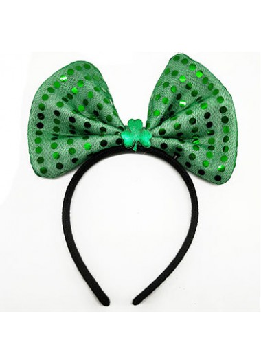 Bowknot Sequin Detail Shamrock Green Headband - One Size