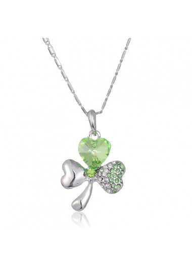 15.7 Inch Shamrock Rhinestone Detail Necklace - One Size