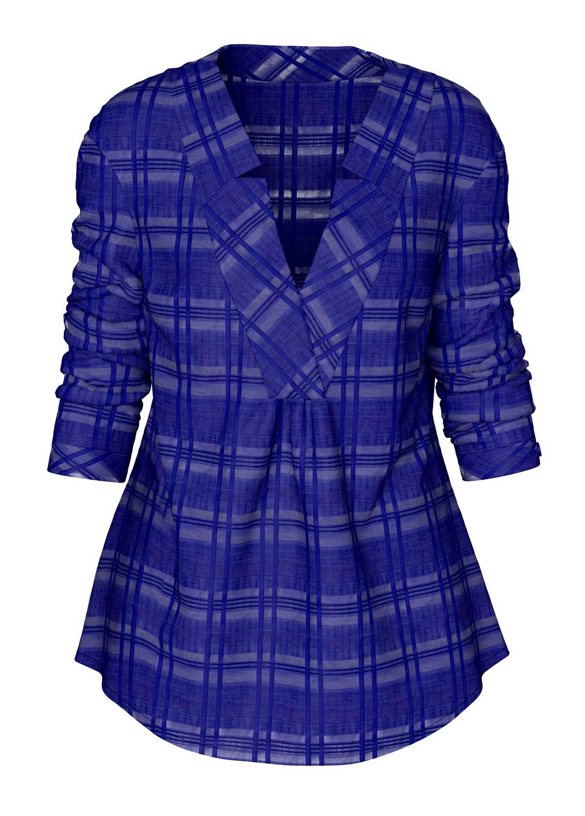 Long Sleeve Curved Hem Royal Blue Blouse