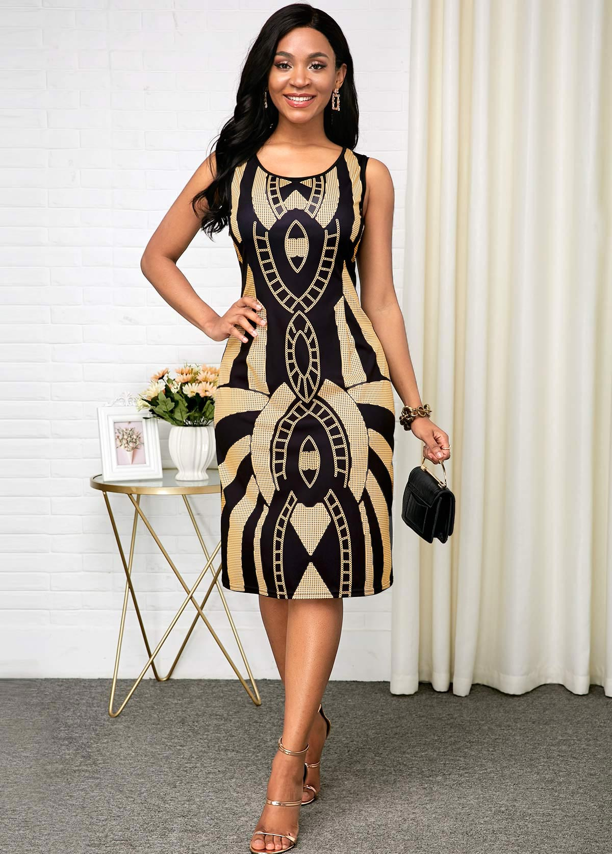 Tribal Print Sleeveless Black Round Neck Dress