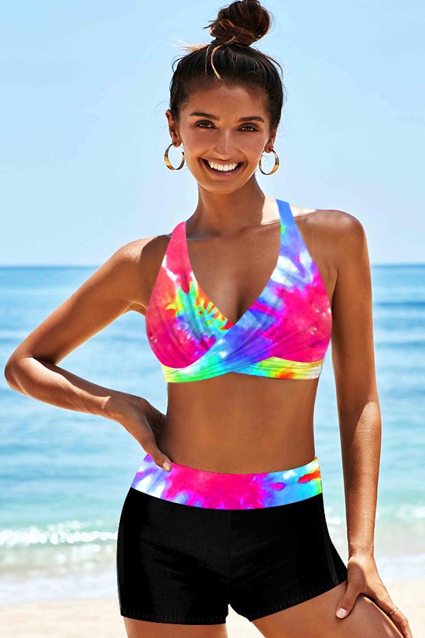 Tie Dye Print Halter High Waist Bikini Set