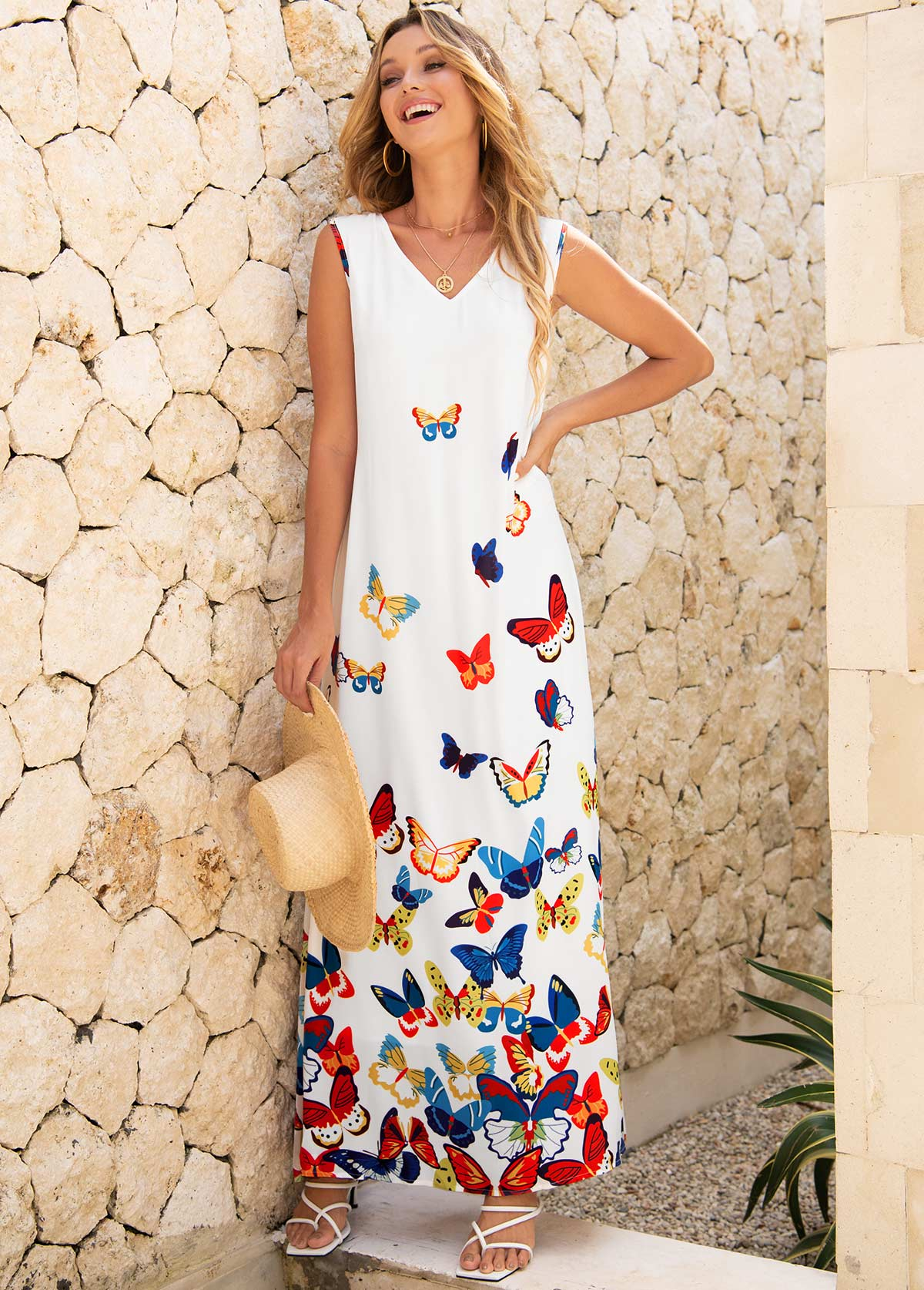 Butterfly Print Sleeveless V Neck Dress