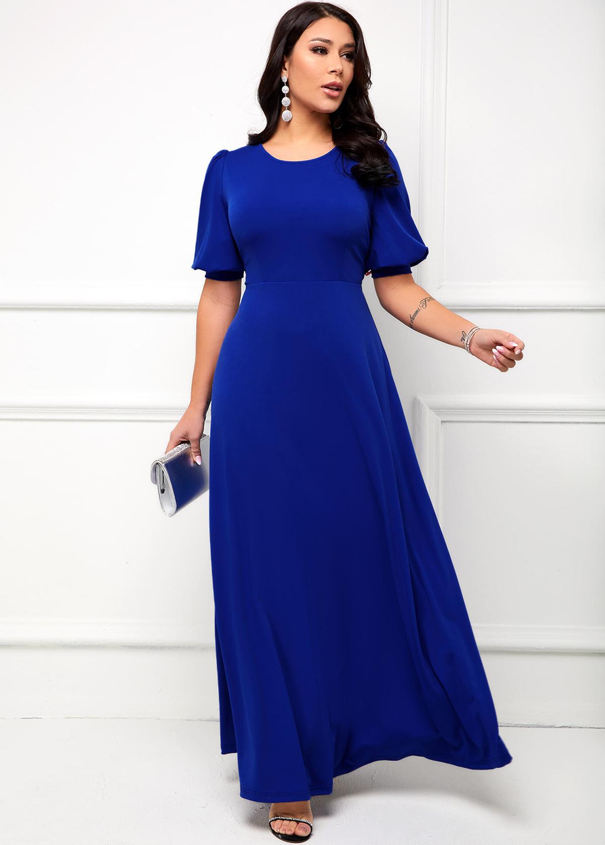 Round Neck Puff Sleeve Maxi Dress