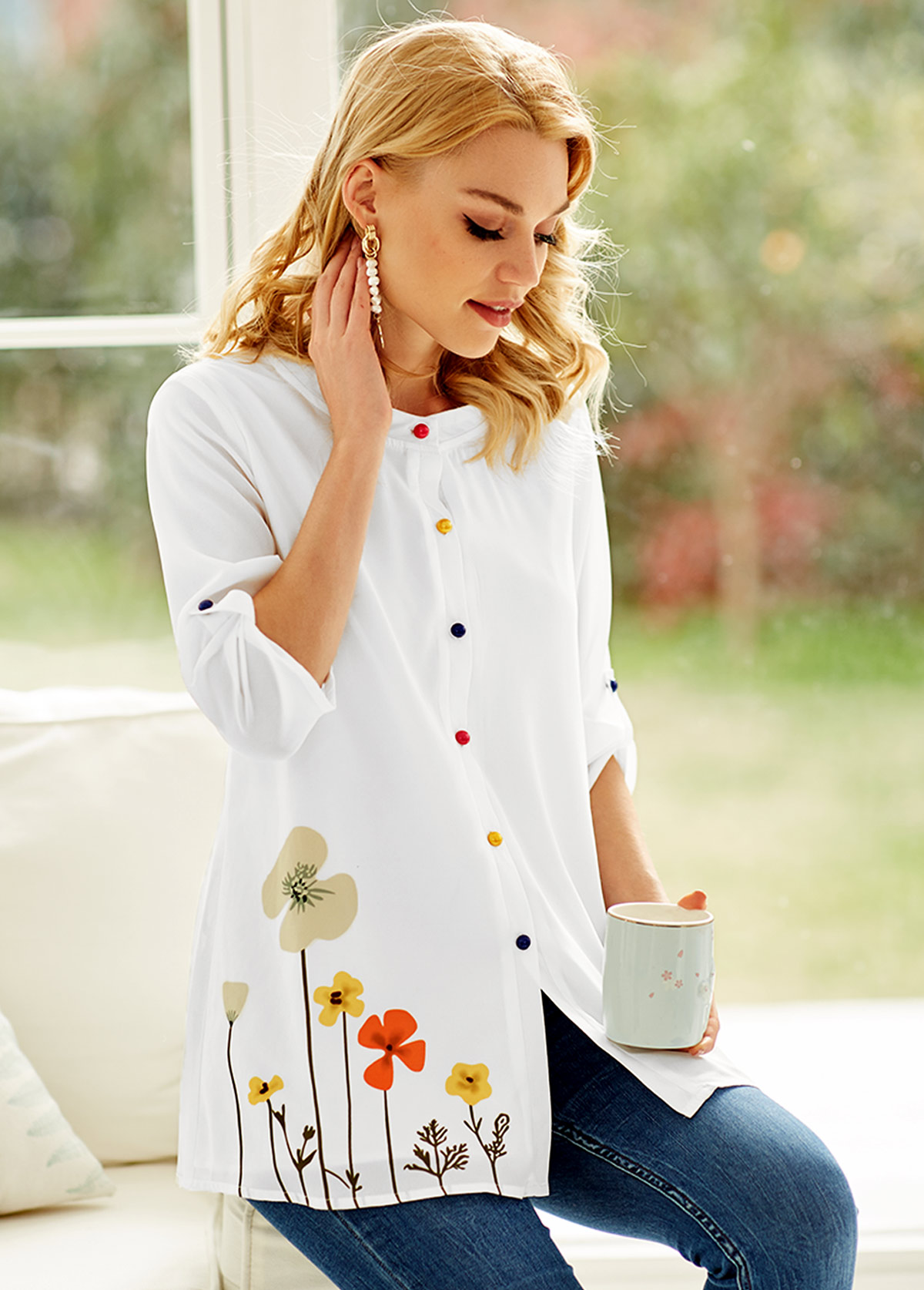 Floral Print Colorful Button White Blouse