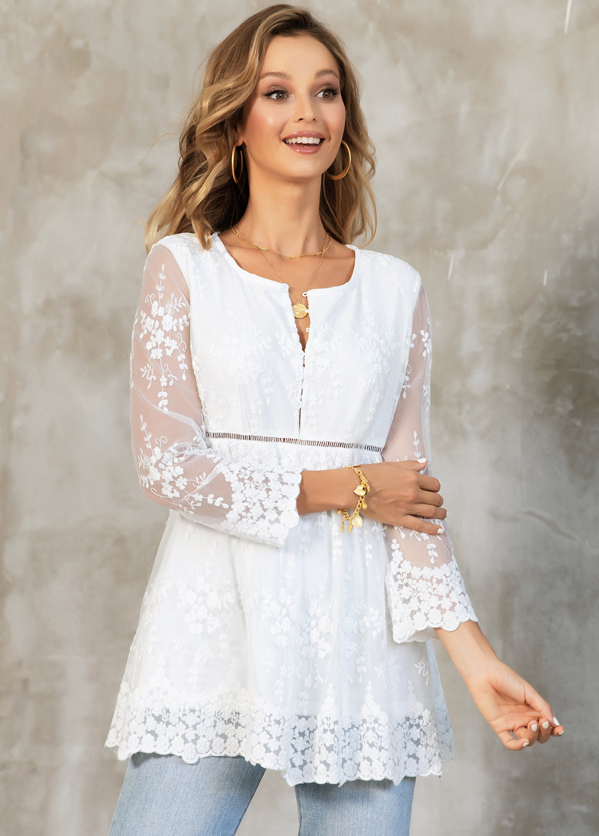 Lace White Button Detail 3/4 Sleeve Blouse