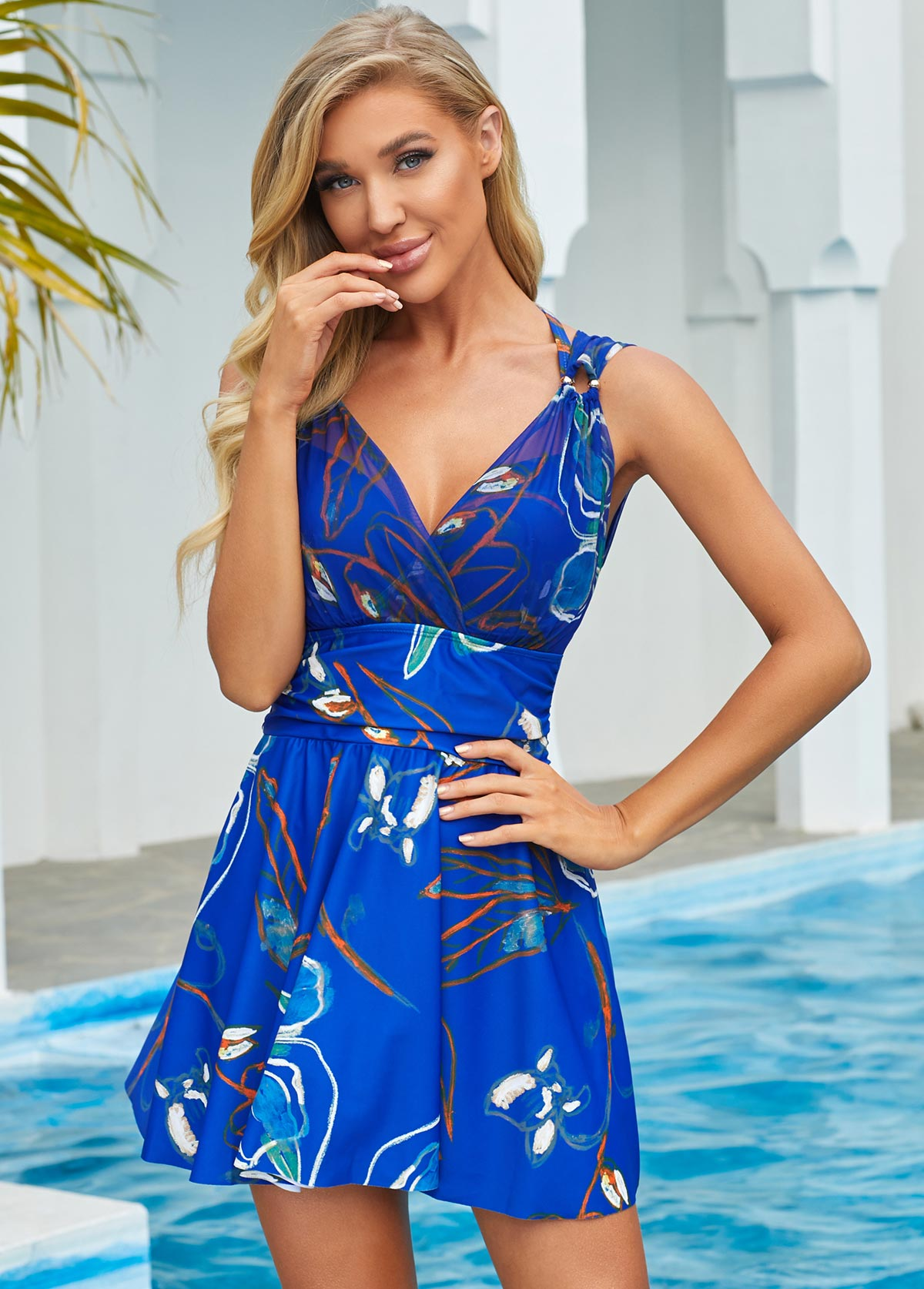 Floral Print Ring Detail Swimdress and Panty