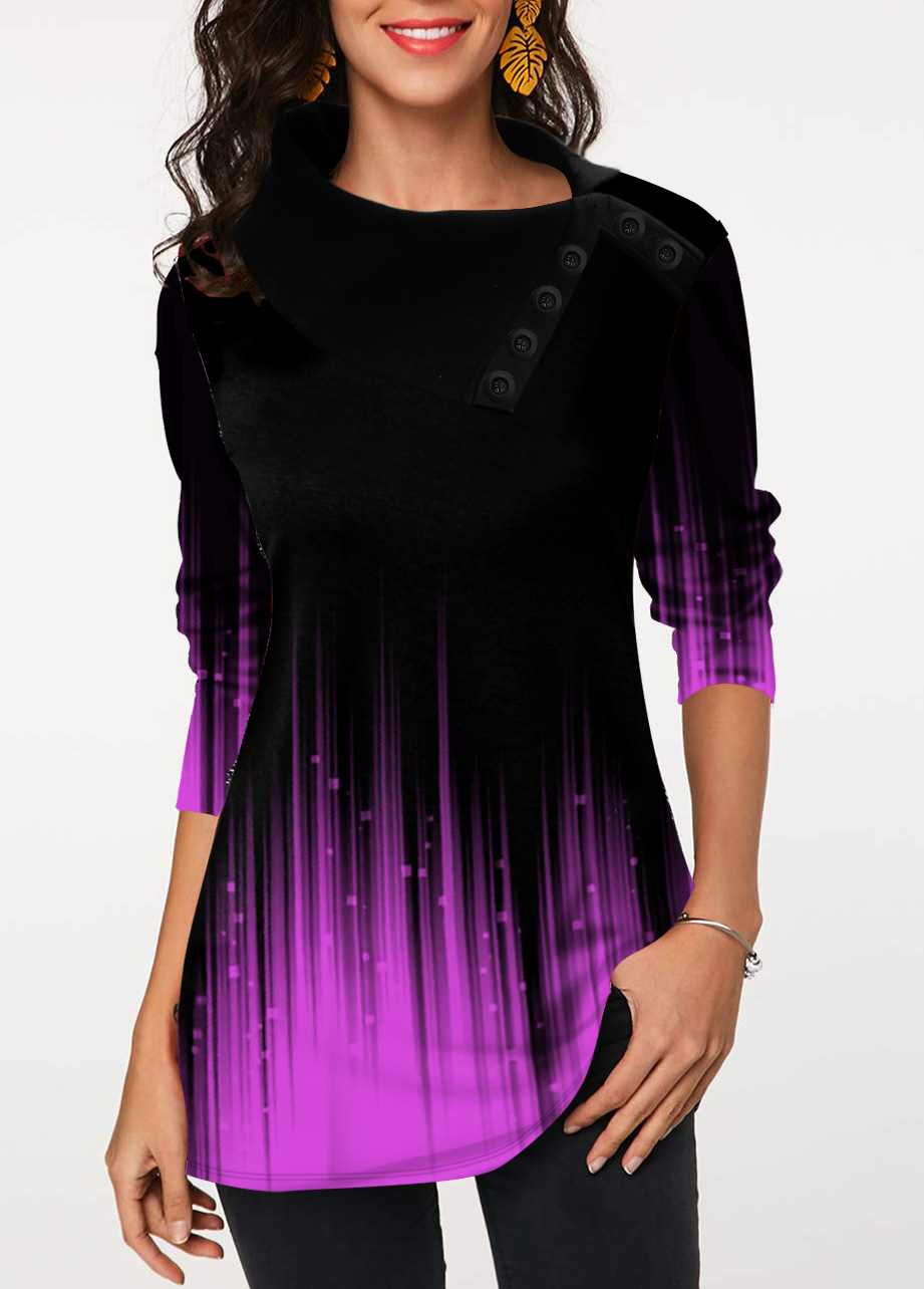 Gradient Button Detail Long Sleeve Tunic Top