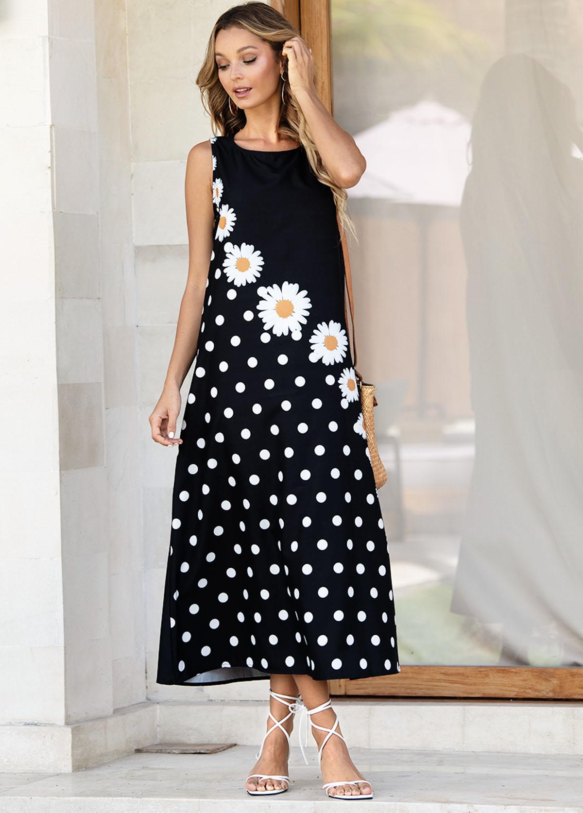 Daisy Print Polka Dot Sleeveless Dress