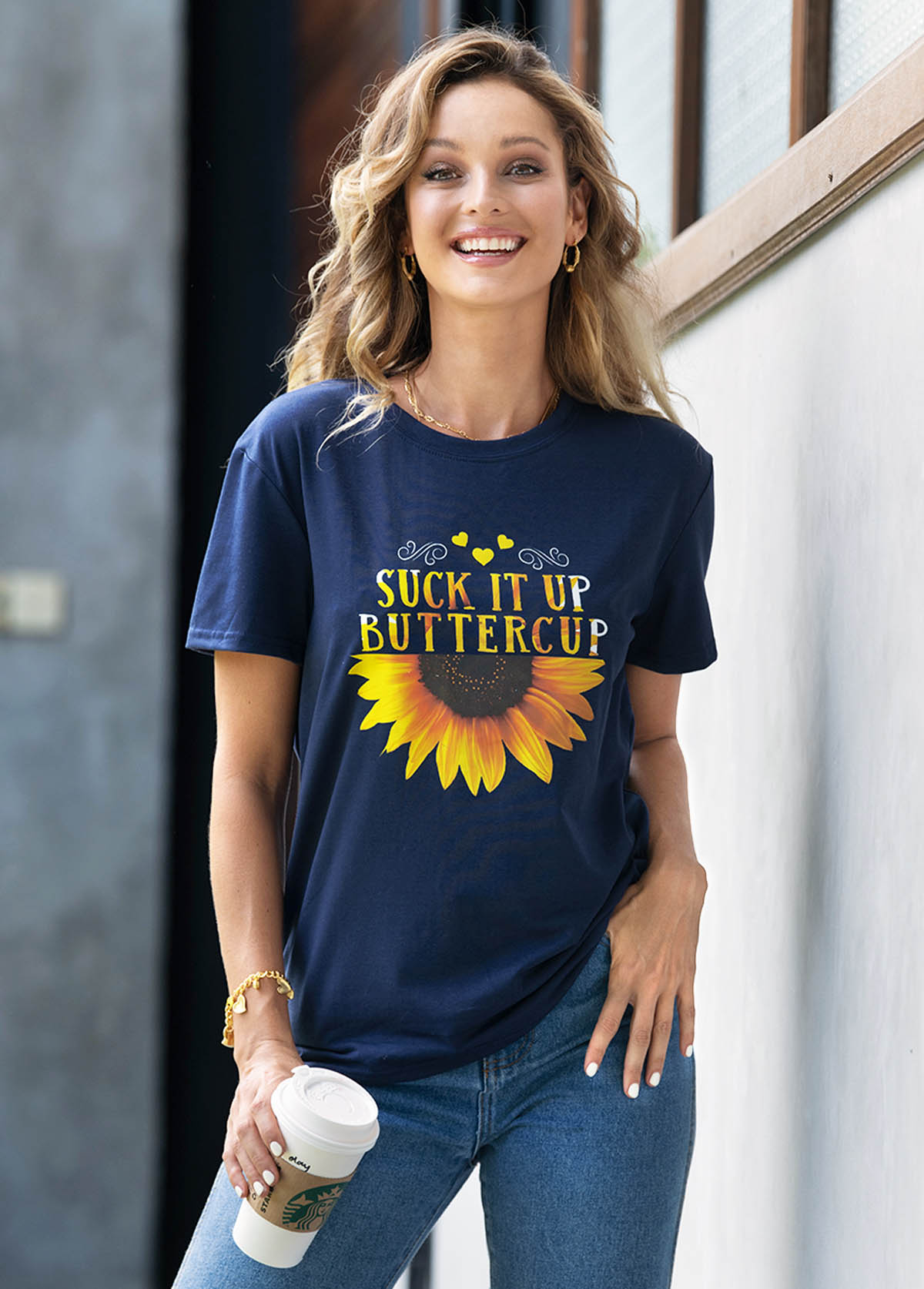 Sunflower and Letter Print Short Sleeve T Shirt
