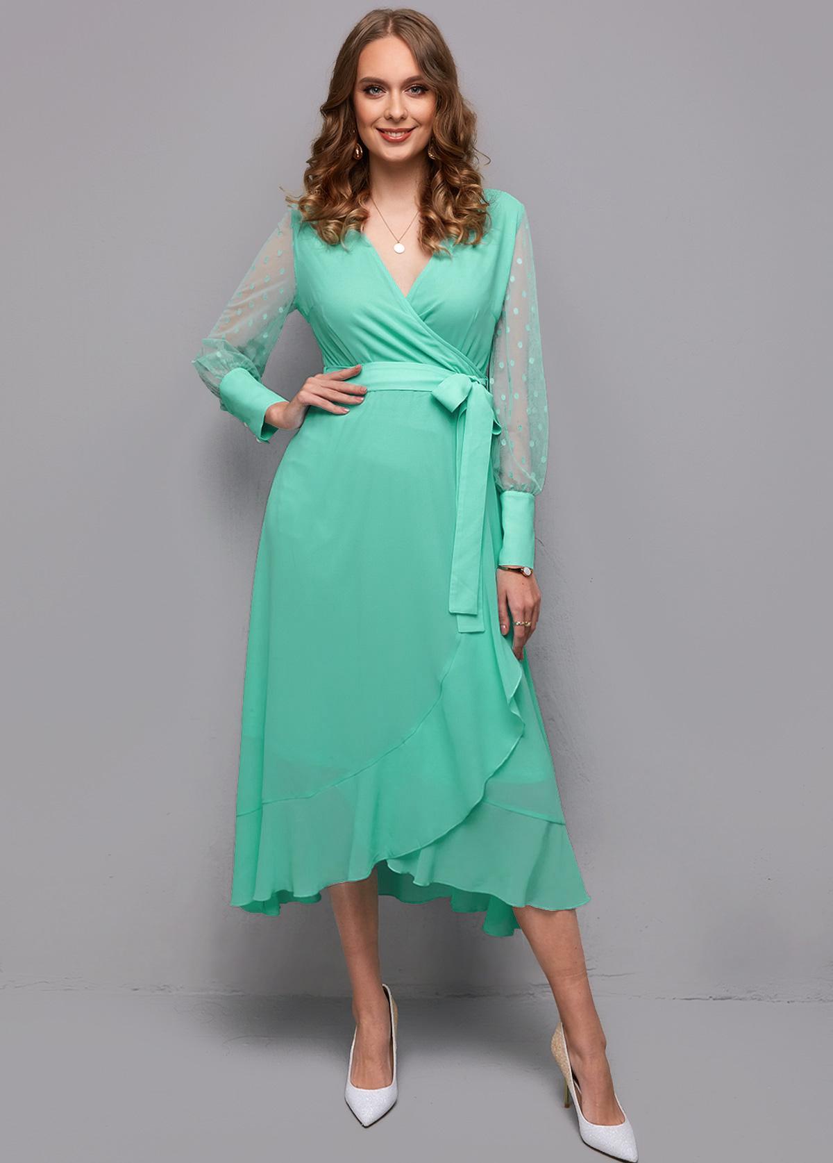 Belted Mesh Stitching Flounce Wrap Dress