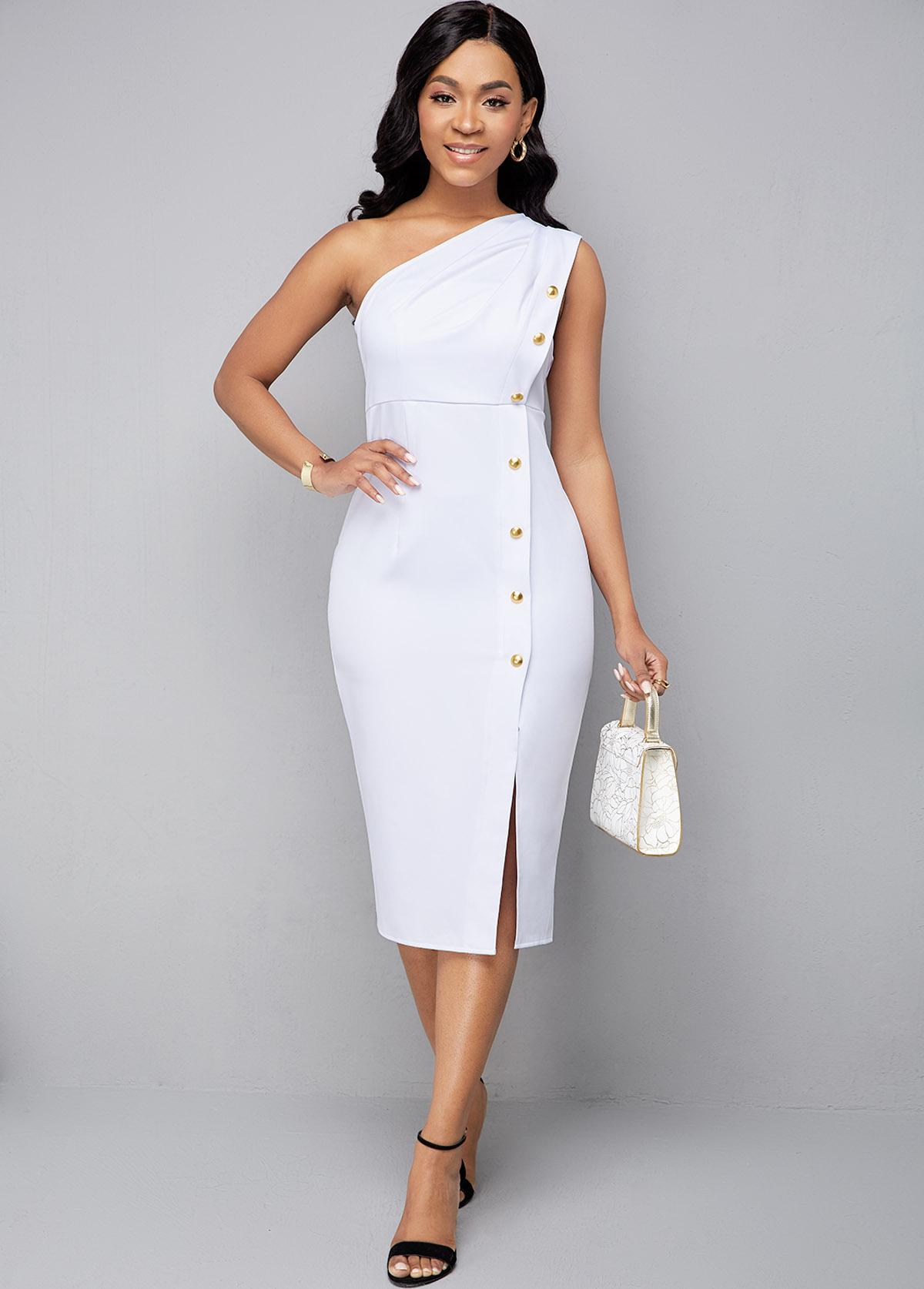 One Shoulder Sleeveless Side Slit Dress
