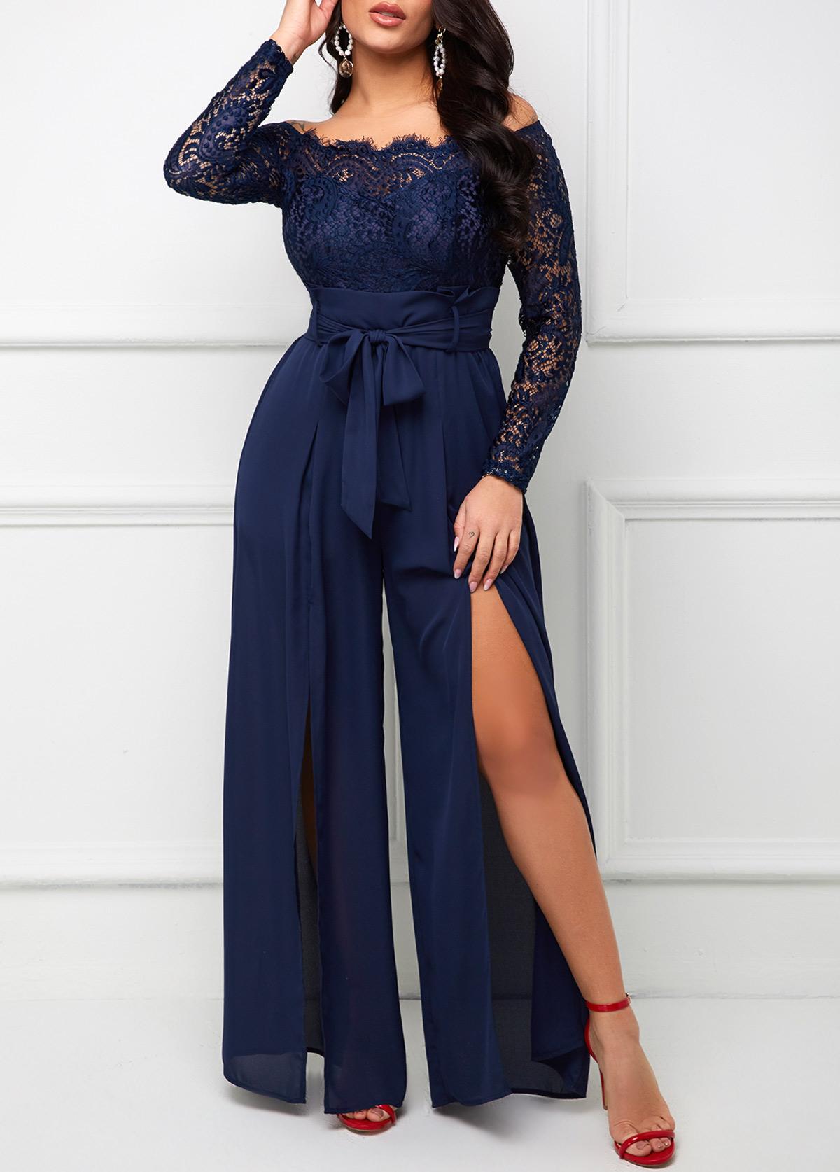 Lace Stitching Off Shoulder Long Sleeve Jumpsuit