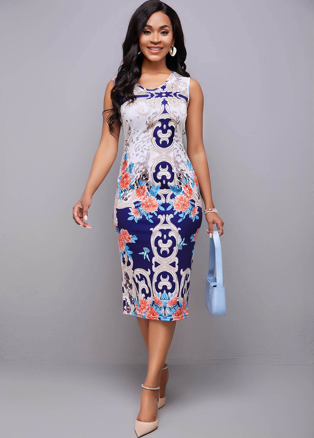 Tribal Print Sleeveless Round Neck Dress