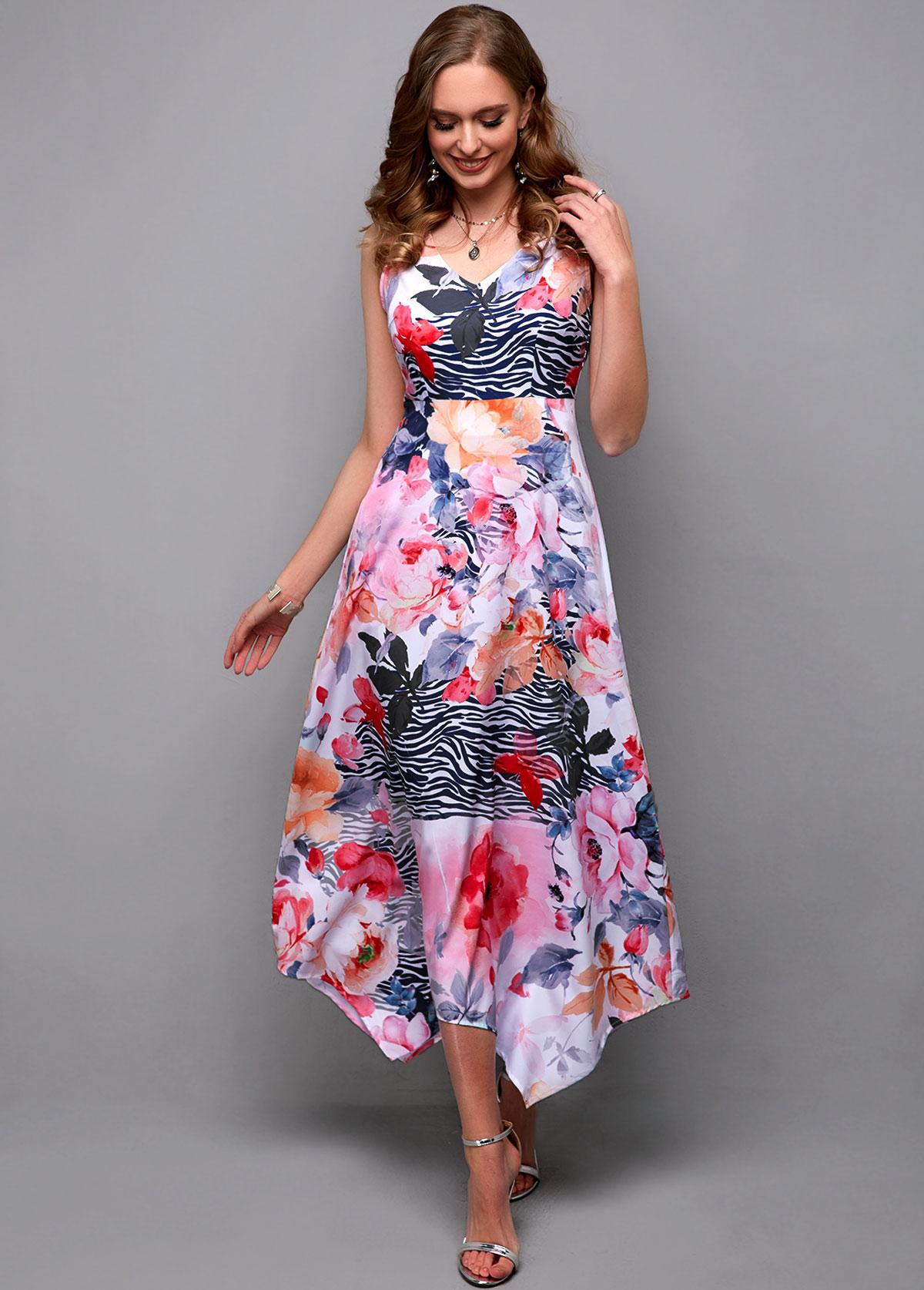 Flower Print Sleeveless V Neck Maxi Dress