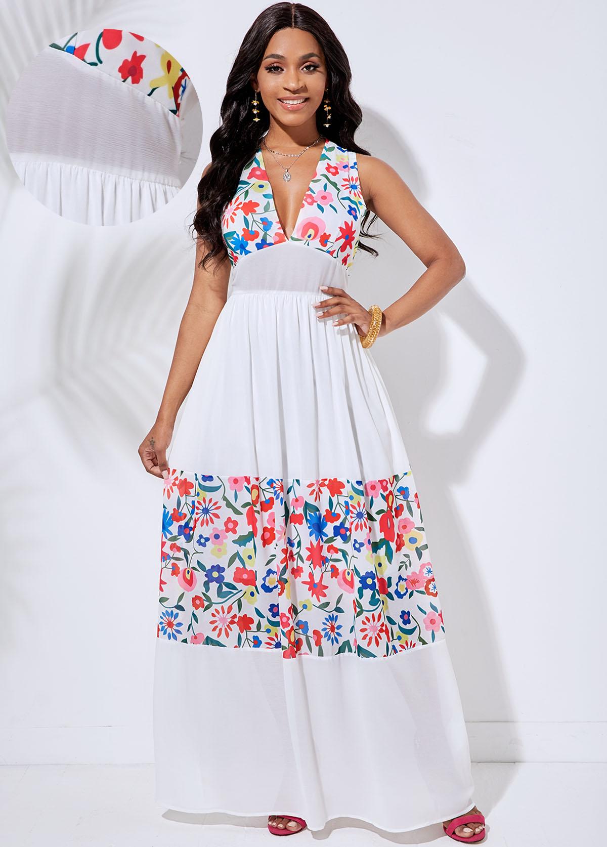 V Neck Floral Print Cutout Back Dress