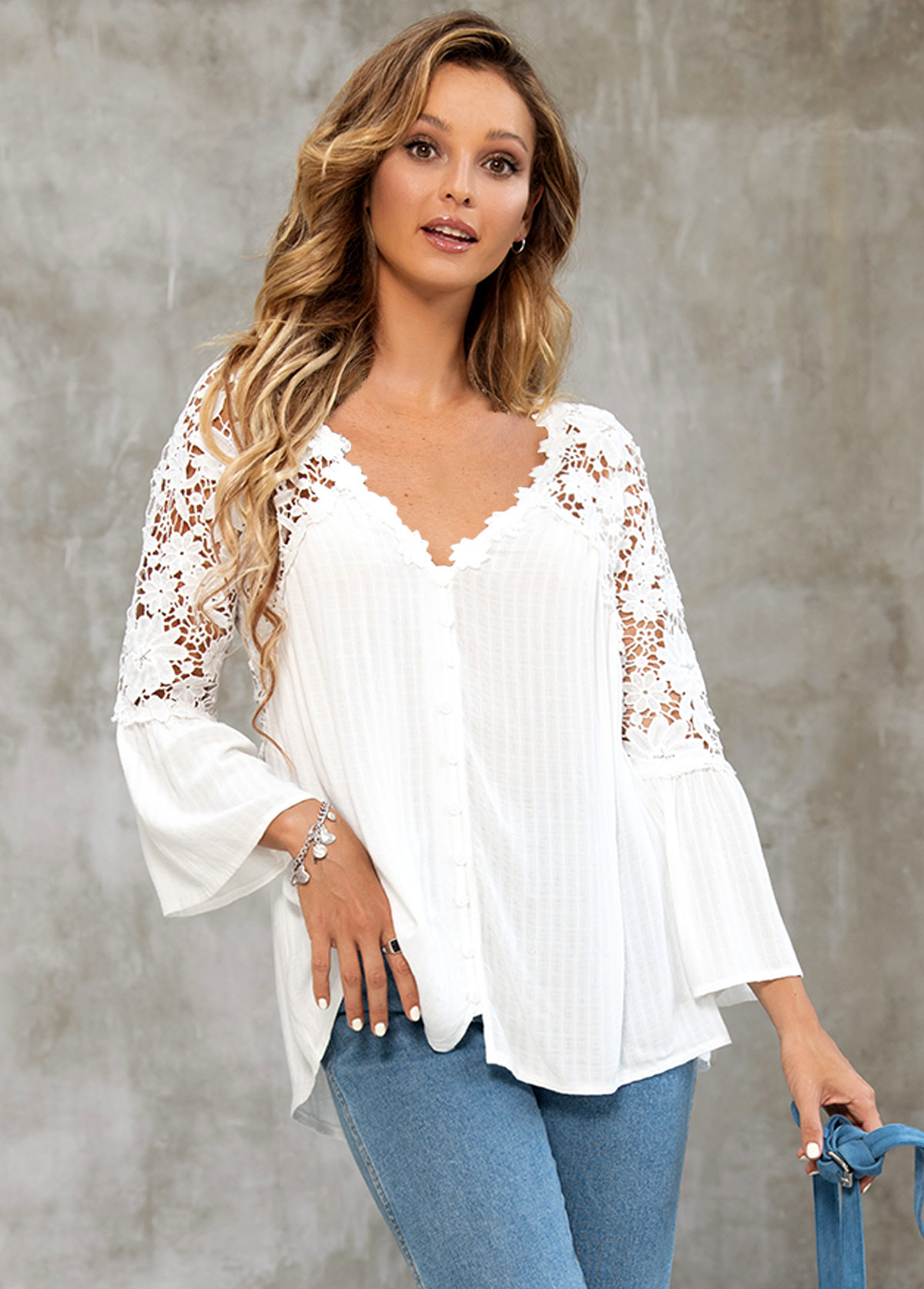 Button Up Lace Stitching Long Sleeve Blouse