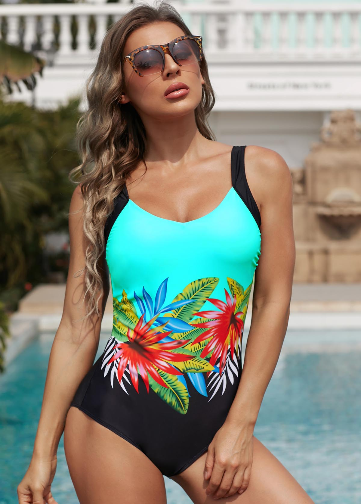 Floral Print Low Back One Piece Swimwear