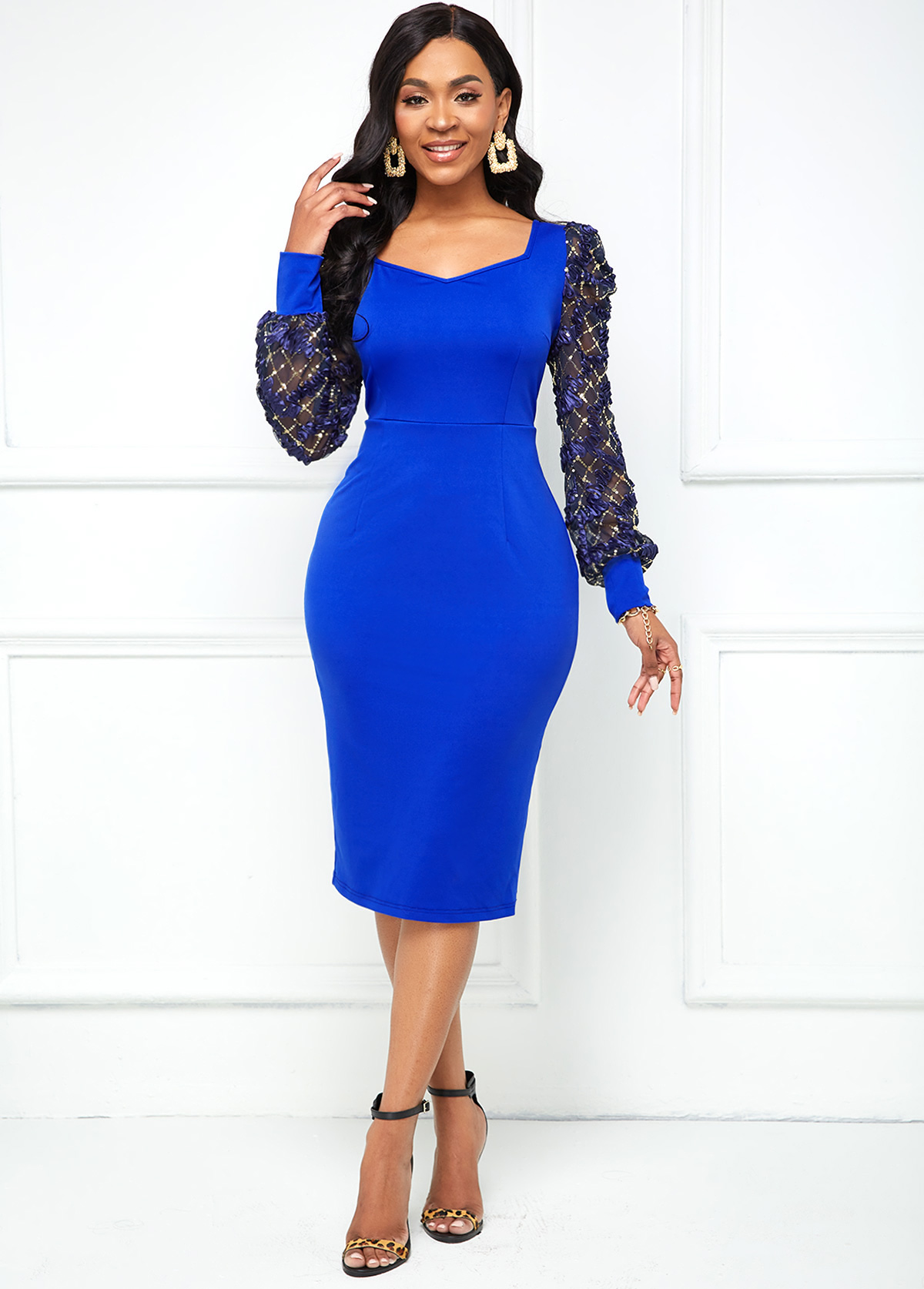 Lace Stitching Puff Sleeve V Neck Dress