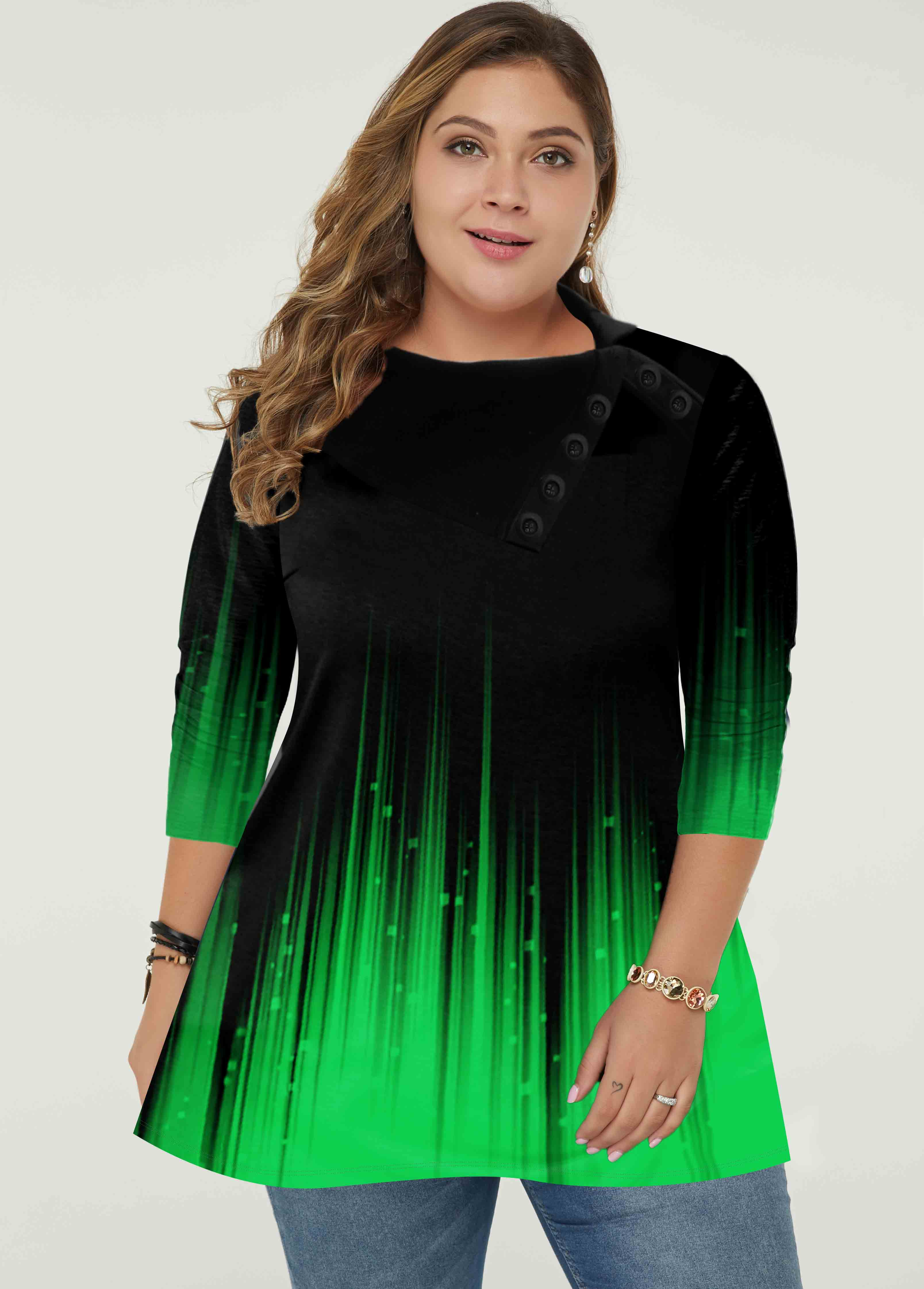 Plus Size Gradient Green Long Sleeve Tunic Top