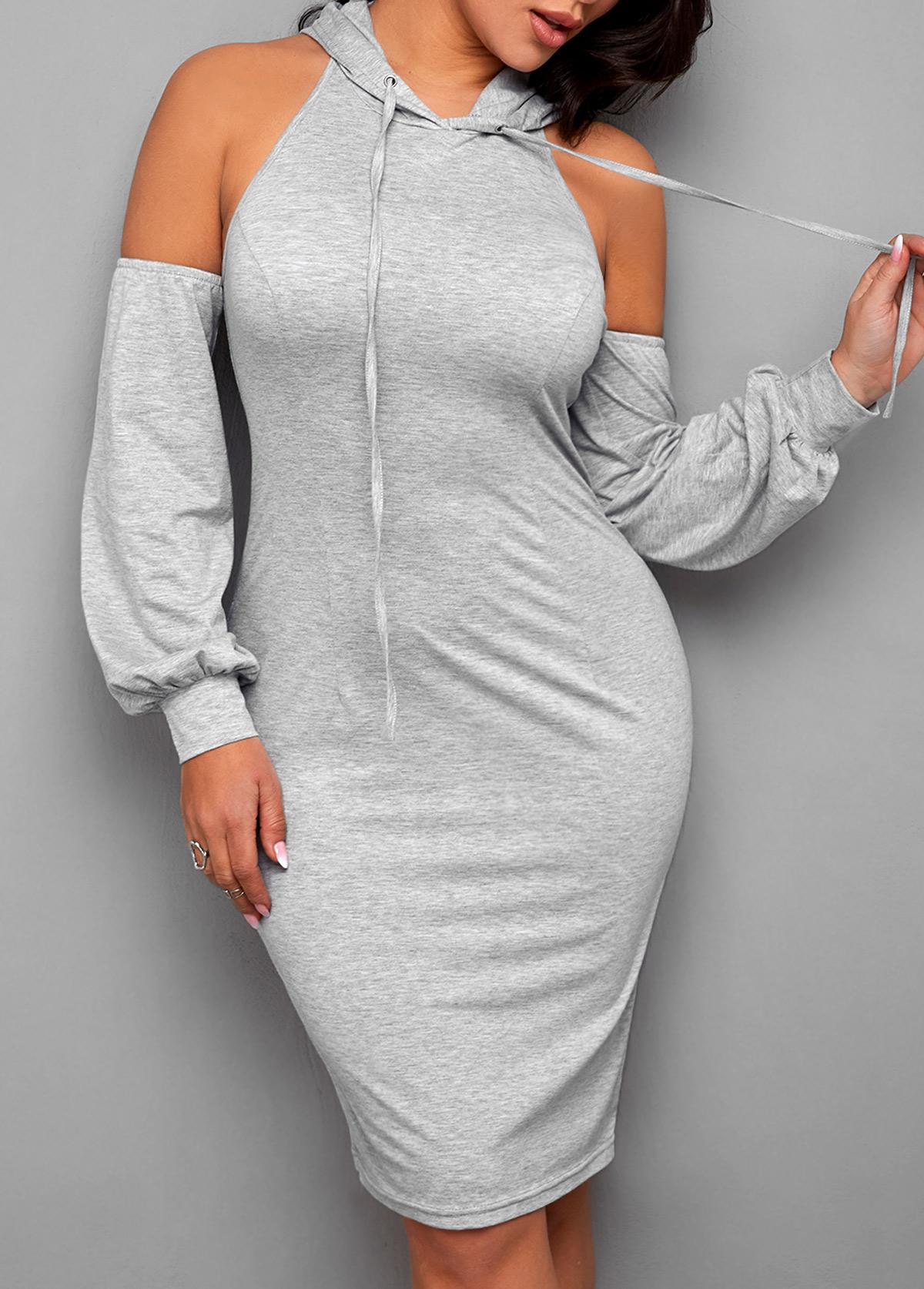 Cutout Back Hooded Collar Long Sleeve Dress
