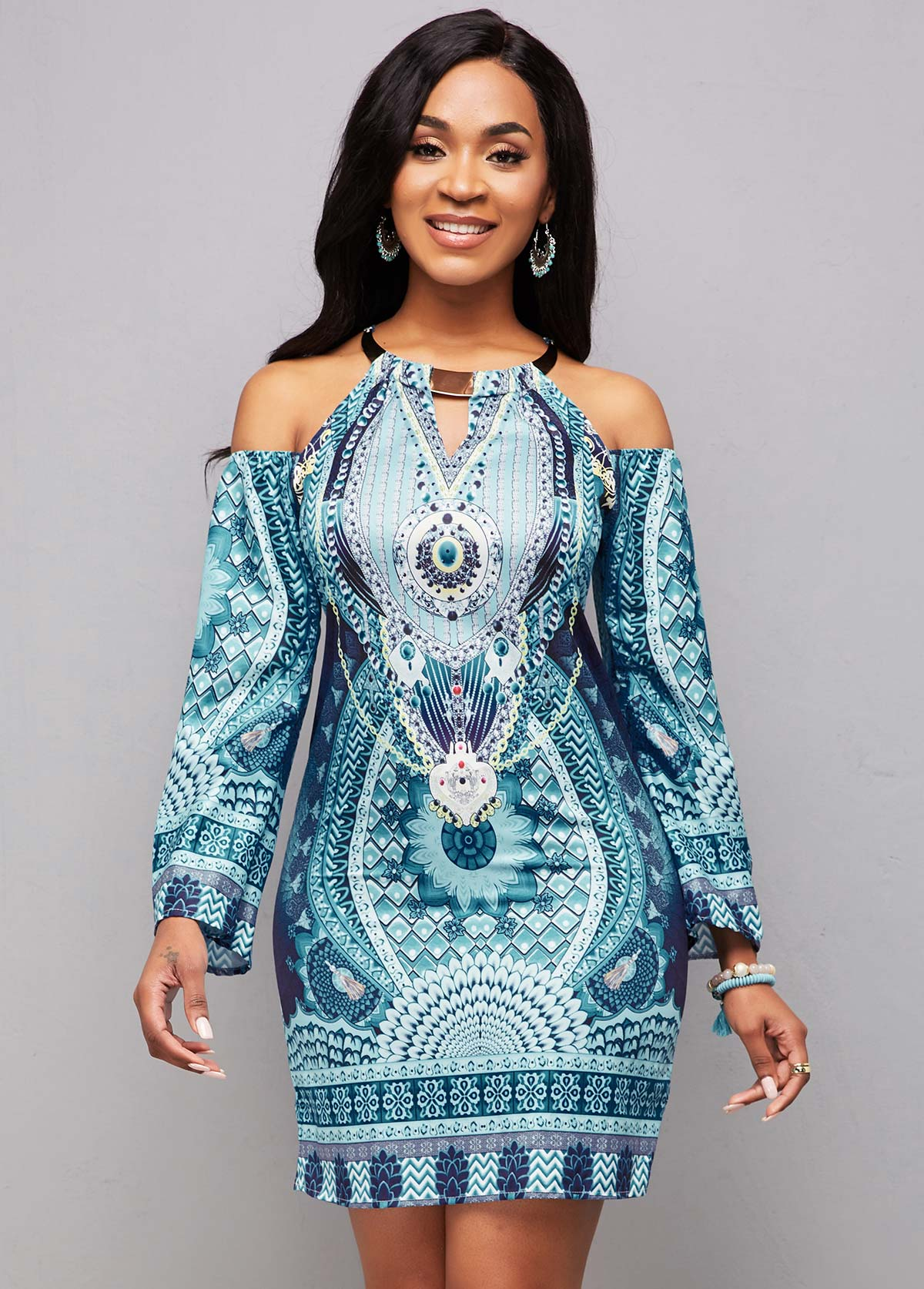 Bib Neck Tribal Print Long Sleeve Bodycon Dress