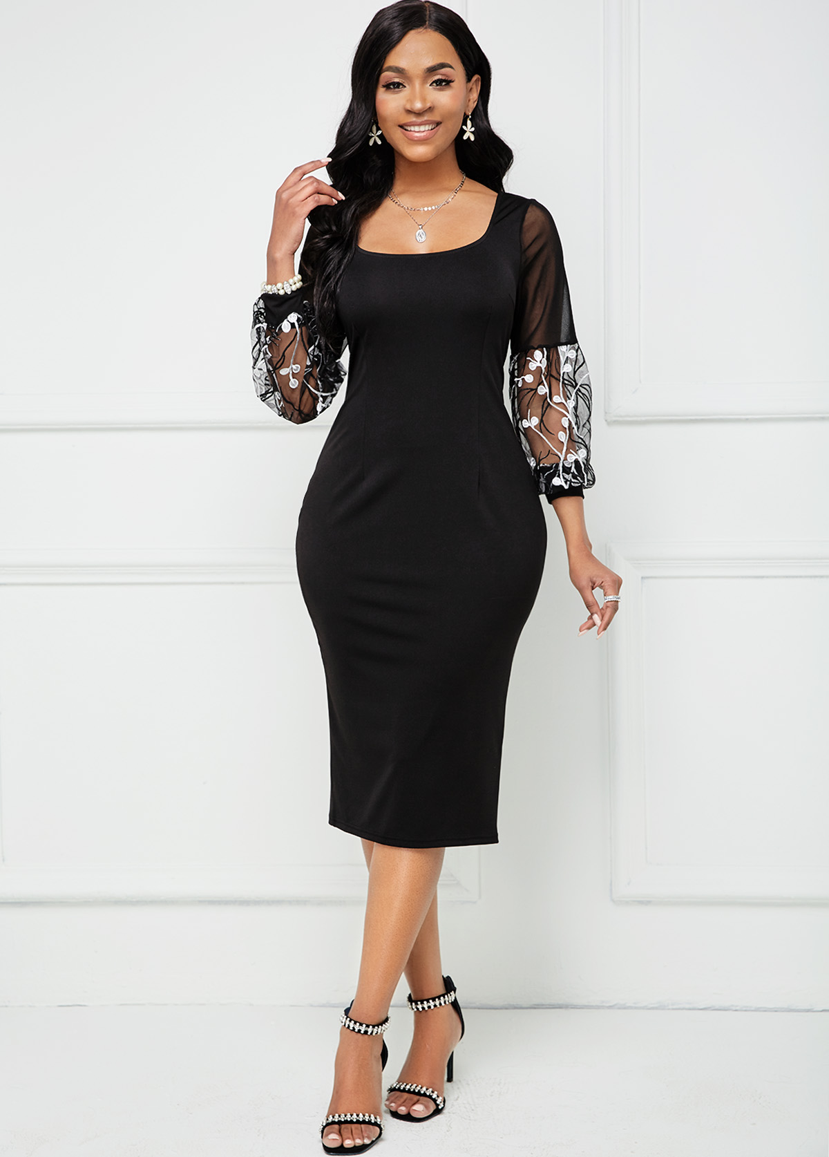 Square Collar Lace Stitching Embroidered Bodycon Dress