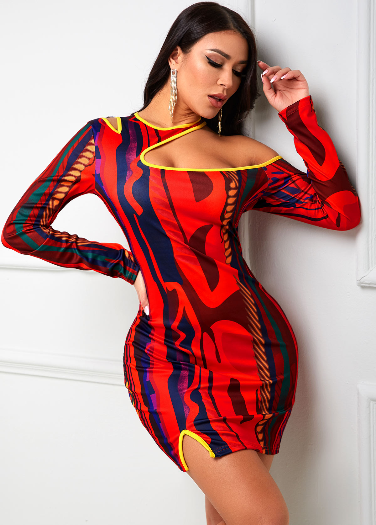 Cutout Neck Long Sleeve Printed Bodycon Dress