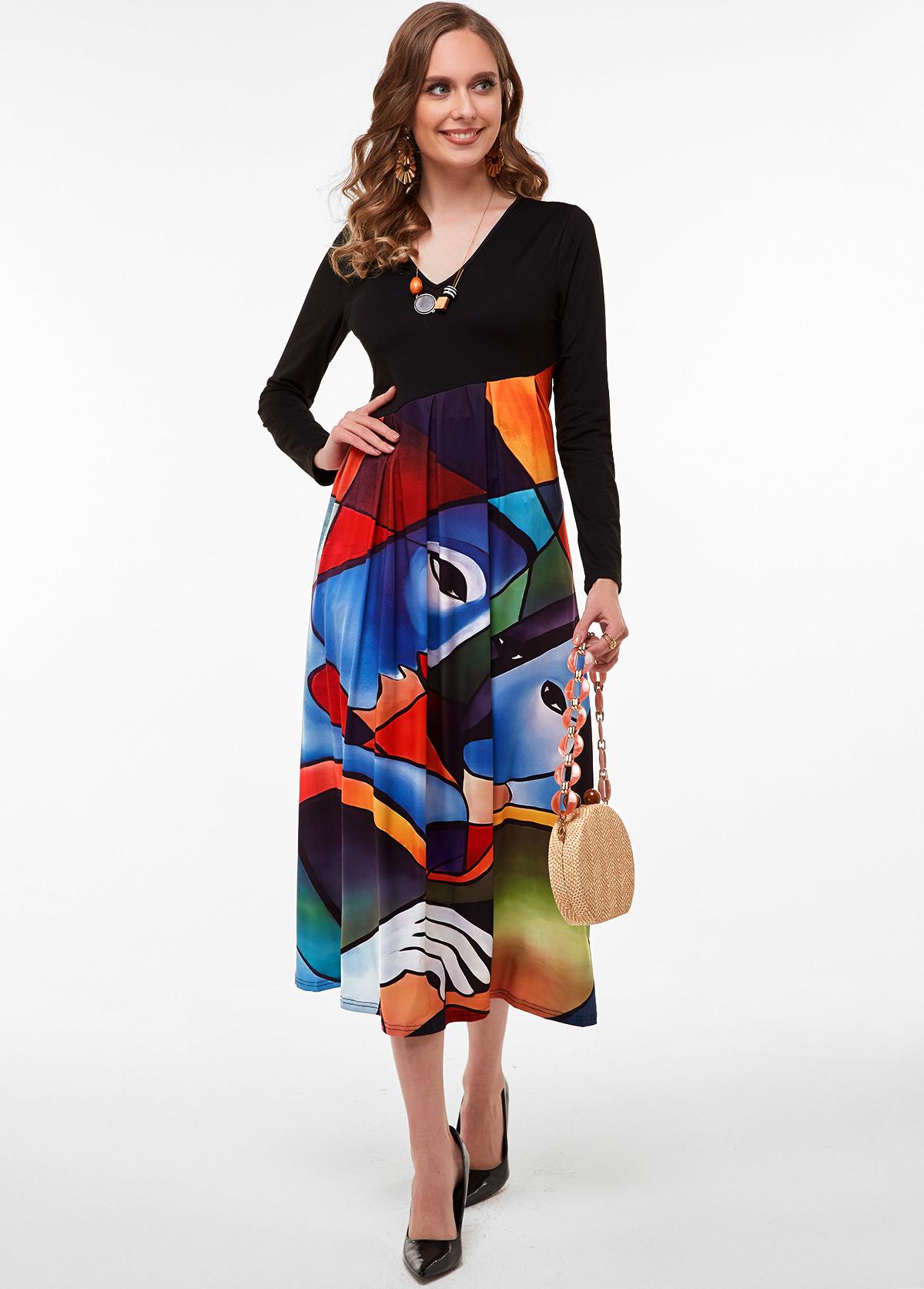 Cartoon Print V Neck Long Sleeve Dress