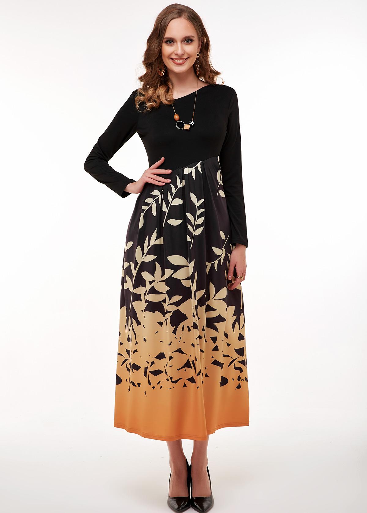 Leaf Print Long Sleeve Maxi Dress