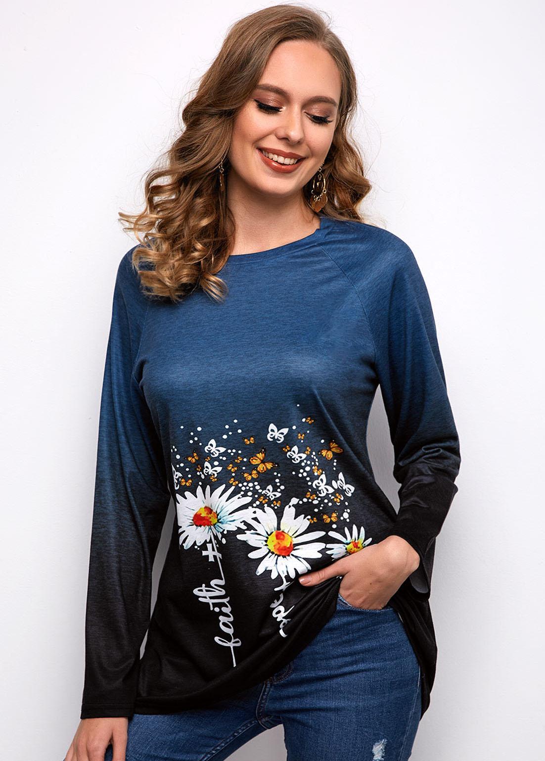 Daisy Print Round Neck Long Sleeve T Shirt