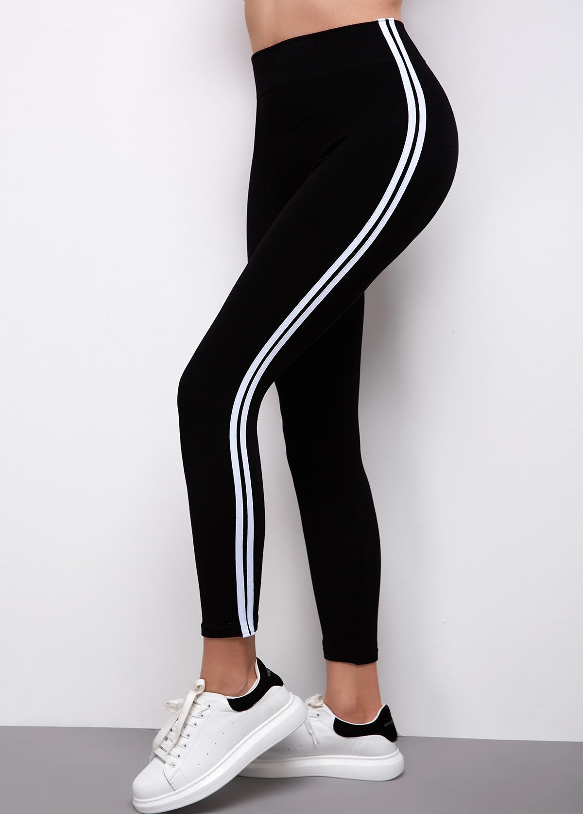 Striped Super Elastic High Waist Legging Pants