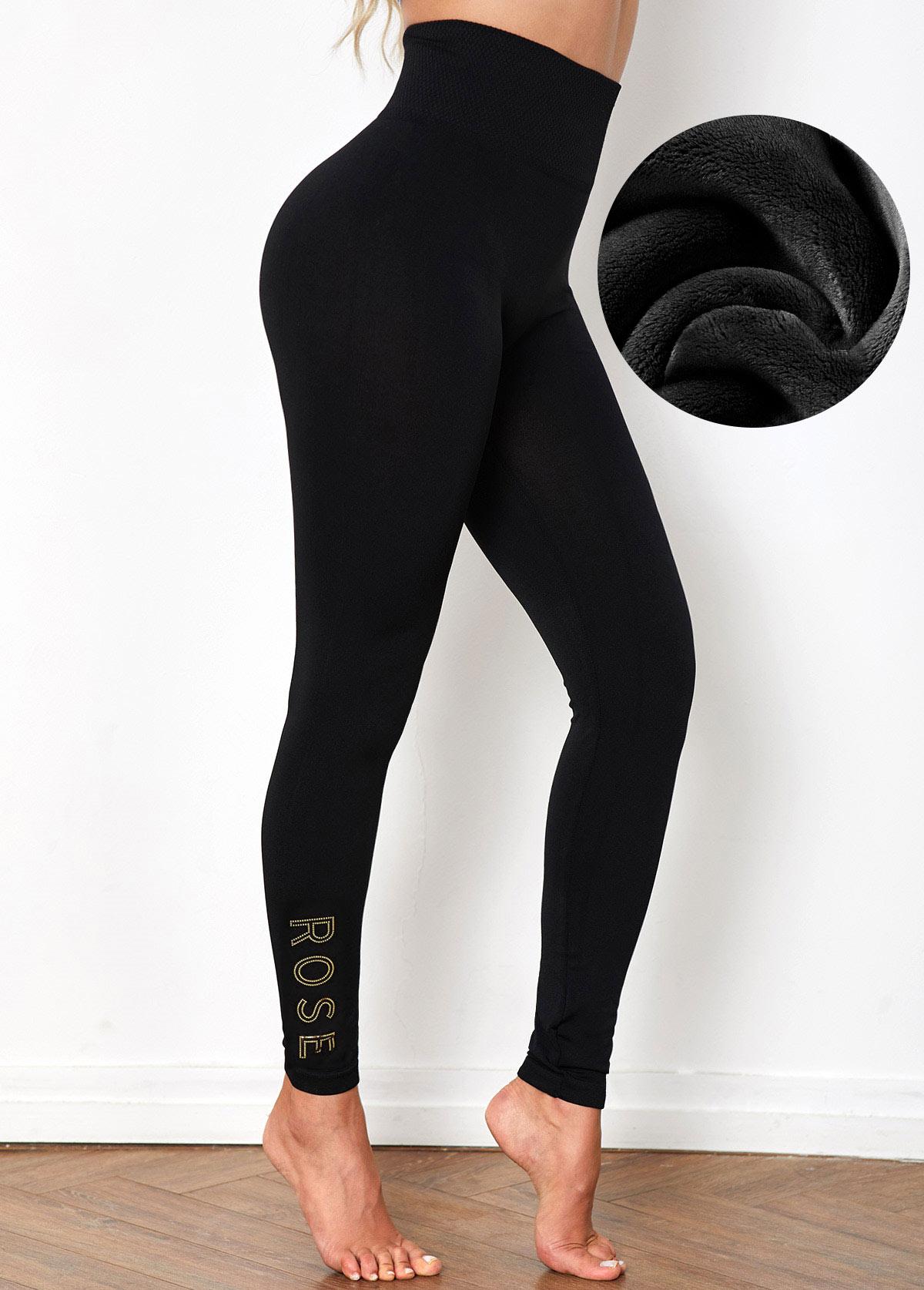 Sequin Letter Super Elastic High Waist Legging Pants